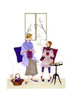 部屋で編み物を子供に教える女性