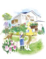 庭でガーデニングをする家族