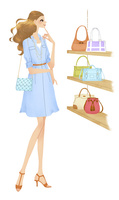 ショッピングでバッグを見て悩む女性