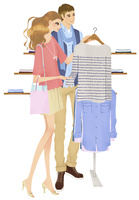 ショッピングで服を選ぶカップル 02463001223| 写真素材・ストックフォト・画像・イラスト素材|アマナイメージズ