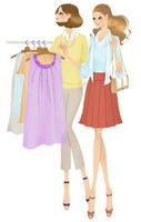 ショッピングをする女性二人 02463001224| 写真素材・ストックフォト・画像・イラスト素材|アマナイメージズ