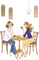 カフェで話す女性二人 02463001226| 写真素材・ストックフォト・画像・イラスト素材|アマナイメージズ