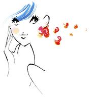 カラフルな色をポイントにした水色の髪の毛の女性