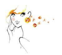 カラフルな色をポイントにした黄色の髪の毛の女性の線画