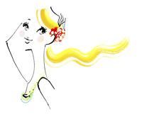 カラフルな色をポイントにした髪の長い女性の線画