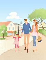 散歩をする親子 02463001234| 写真素材・ストックフォト・画像・イラスト素材|アマナイメージズ