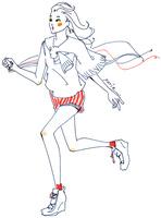 紐を手に持ち走る女性 02463001238| 写真素材・ストックフォト・画像・イラスト素材|アマナイメージズ