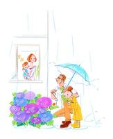 アジサイの上にカタツムリを見つけた女の子とお父さん