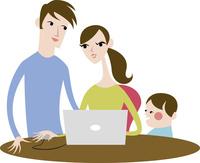 パソコンで調べ物をする家族