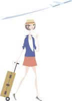 旅行鞄を持った女性