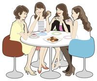 ティータイムに談笑する4人の女性