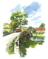 橋の上の猫と車