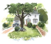 白い家と自転車