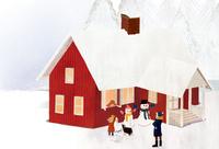 雪が積もった家と雪だるまを作る人達