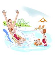 プールで遊ぶ家族