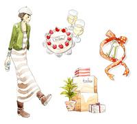 誕生日ケーキと女性