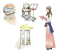 本を持った女性