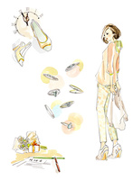春のファッションと女性