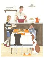 食事の準備をするお父さんと子供