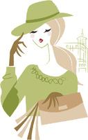 街に居る帽子をかぶった女性