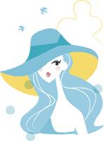 帽子をかぶった水着の女性