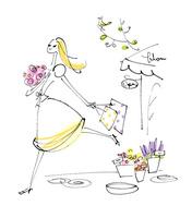 お花をもって歩く女性
