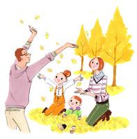 銀杏と家族 02463001327| 写真素材・ストックフォト・画像・イラスト素材|アマナイメージズ