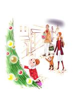 クリスマスツリーと家族