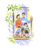 家族で窓から外を眺める
