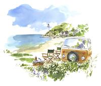 海辺で車を停めてピクニック