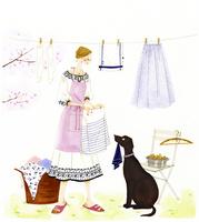 洗濯物を干す女性と犬