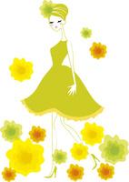 花に囲まれるドレスを着た女性