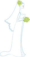 ブーケを持ったウェディングドレスの女性1