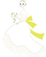 ブーケを持ったウェディングドレスの女性2