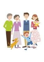 6人家族と犬 02463001364| 写真素材・ストックフォト・画像・イラスト素材|アマナイメージズ