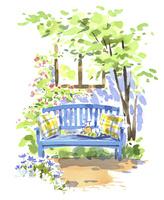外に置かれたベンチ 02463001367| 写真素材・ストックフォト・画像・イラスト素材|アマナイメージズ
