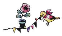 フラッグを引っ張る鳥と花 02463001373| 写真素材・ストックフォト・画像・イラスト素材|アマナイメージズ