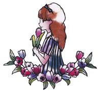 花に囲まれる女の子
