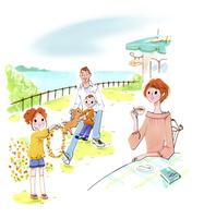 花飾りを作る子供と家族