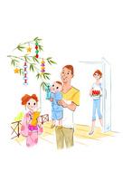 七夕を祝う家族 02463001410| 写真素材・ストックフォト・画像・イラスト素材|アマナイメージズ