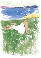 草原に寝転がる女性