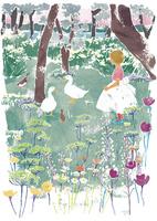森の中の女の子とガチョウ