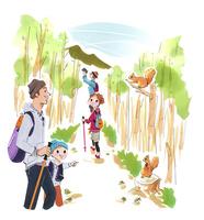 ハイキングをする家族 02463001424| 写真素材・ストックフォト・画像・イラスト素材|アマナイメージズ