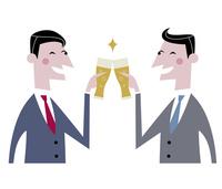 ビールで乾杯するサラリーマン