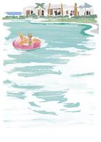 浮き輪で海に浮かぶ女性