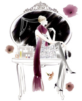 鏡台の上に座る女性