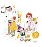 ハロウィーンの準備をする家族 02463001447| 写真素材・ストックフォト・画像・イラスト素材|アマナイメージズ