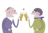 乾杯する老夫婦
