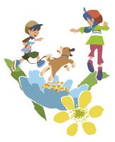 犬の散歩をする兄弟 02463001453| 写真素材・ストックフォト・画像・イラスト素材|アマナイメージズ