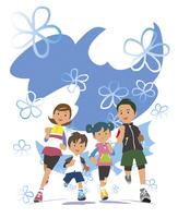家族でジョギング 02463001454| 写真素材・ストックフォト・画像・イラスト素材|アマナイメージズ